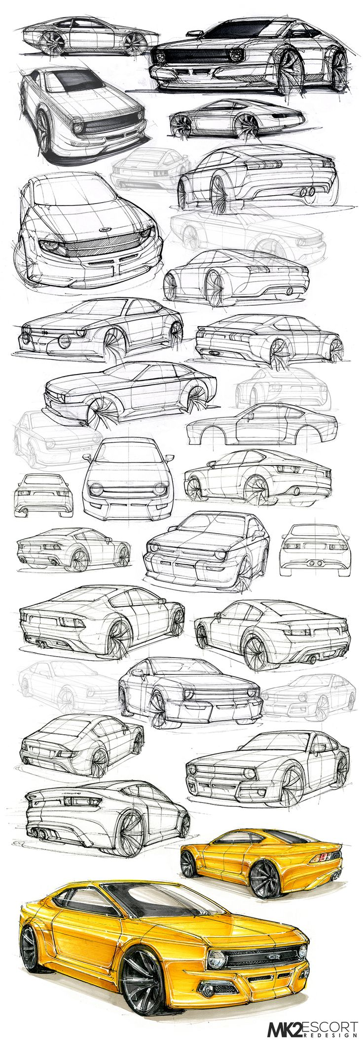 Mk2 Ford Escort Redesign Sketches