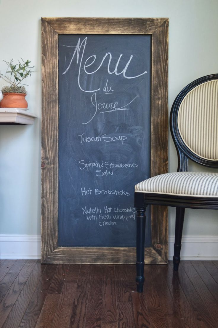 Easy way to jump on the chalkboard craze, without actually painting a wall...