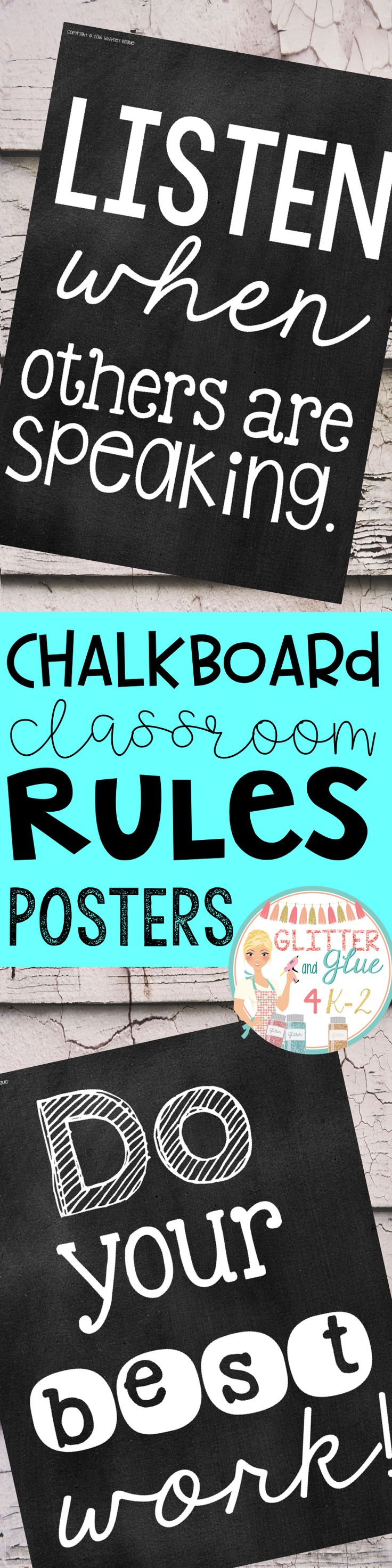 Display your classroom rules with these chalkboard posters. Included are twelve different classroom rules with a chalk background and black lettering. Keywords: classroom décor, classroom rules, chalkboard theme, chalk classroom, , classroom management, class rules, rule posters, bright classroom, black and white, printables, back to school, classroom inspiration  cla