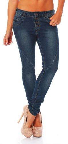 Womens-jeans-boyfriend-baggy-Chino-Button-Fly-Stretch-Waist-Trousers-NEW-CL-616