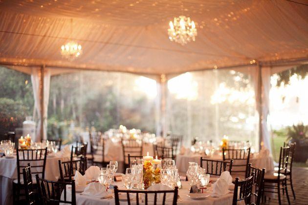 Brock House Restaurant - summer evening wedding reception chandelier tent