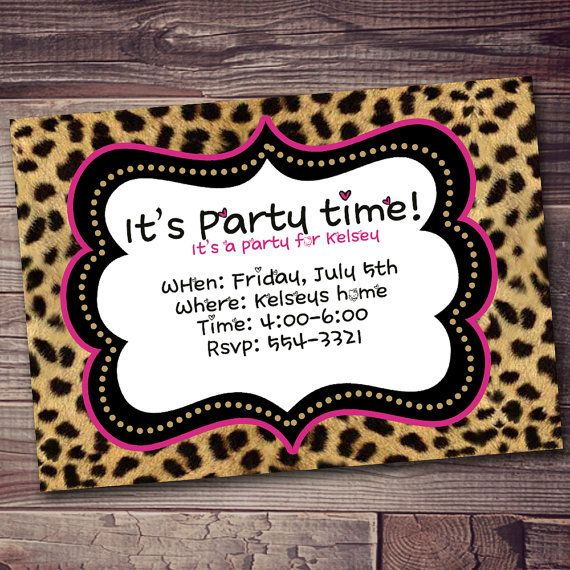 Cheetah Birthday Invitation Cheetah Print Invitation Custom Color