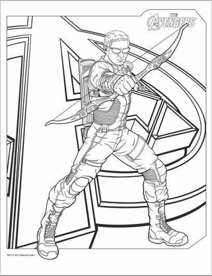 hawkeye from the avengers team coloring page - Avengers Coloring Book