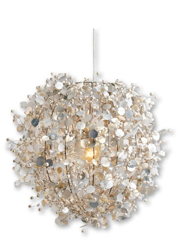 Colorique Porcelino pearl lamp ivoor  could be an at home? mother of pearl strands woven around a chandelier  romantic beach bedroom