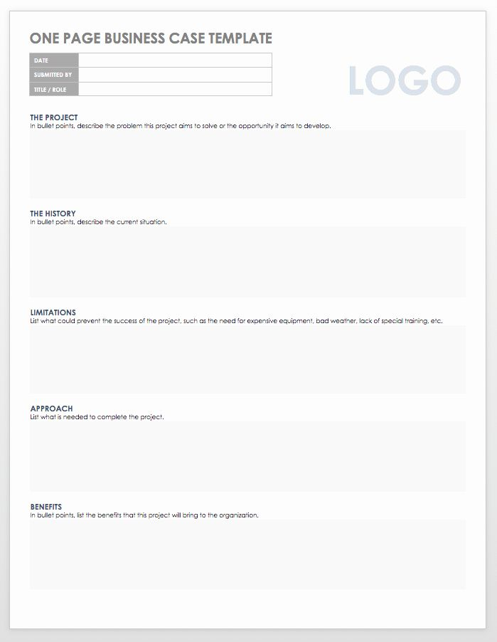 One Pager Template Word Unique Business Case E Page Template 4