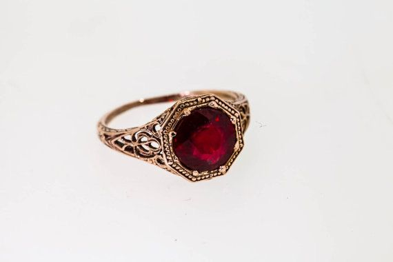 14k 1940's 2 ct Ruby ROSE GOLD Wedding by KimberlysTreasure, $779.00