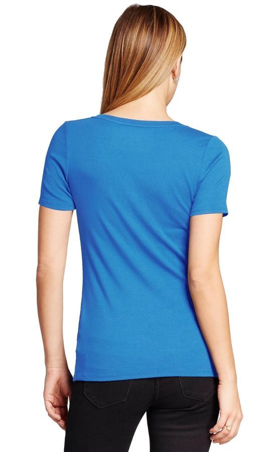 Womens Basic V Neck T Shirts Solid Color Plain Tee Top Stretch Layer Fitted