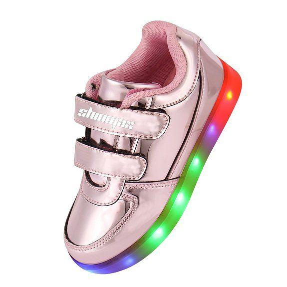 Shinmax Serie Oro Infanzia multicolore di ricarica USB Kid pattini casuali lampeggianti scarpe da tennis del ragazzo e ragazza per il compleanno del Ringraziamento Natale EURO 49,99