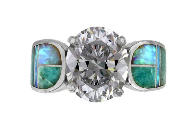 Native American Jewelry - Amazing Light Inlay Ring by David Rosales of New Mexico - Created Opal, Varisitie, and White Topaz in Sterling Silver. Order yours today!