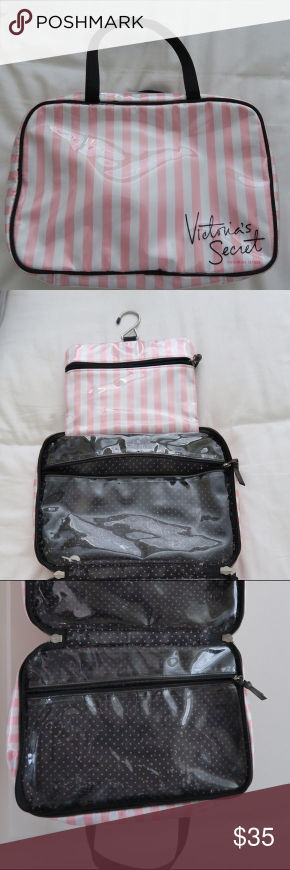 Victoria Secret Makeup Carrying Case USED!! Never traveled with this bag but it held extra makeup items. Had it for around 2 months. Has minimal wear and a few stains from makeup but does not take away from the integrity of the bag. Willing to negotiate on price!! Victoria's Secret Bags Cosmetic Bags & Cases
