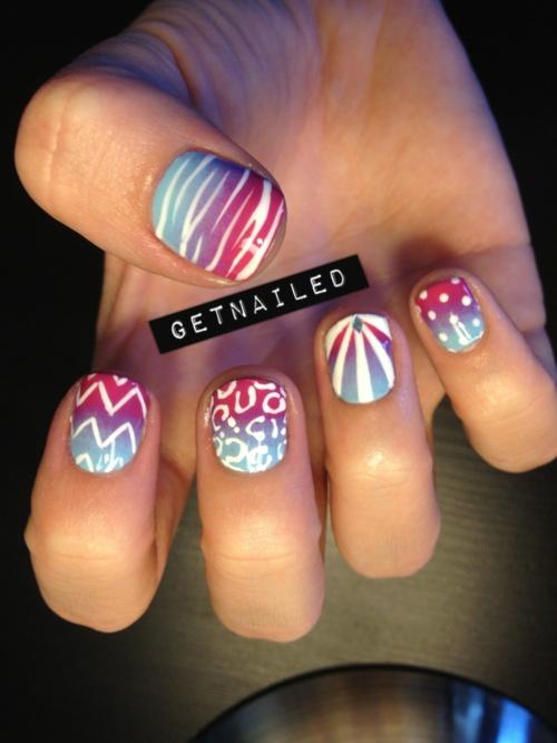 I love her manicures.: Nails Art, White Design, Patterns Nails, Nails Design, Polish Nails, Summer Nails, Nails Ideas, Gradient Nails, Art Nails