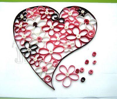 Tortentantes Tortenwelt - DER Tortenblog mit Anleitungen und Tipps für Motivtorten: Anleitung: Quilling zum Valentinstag - Herz aus Blümchen