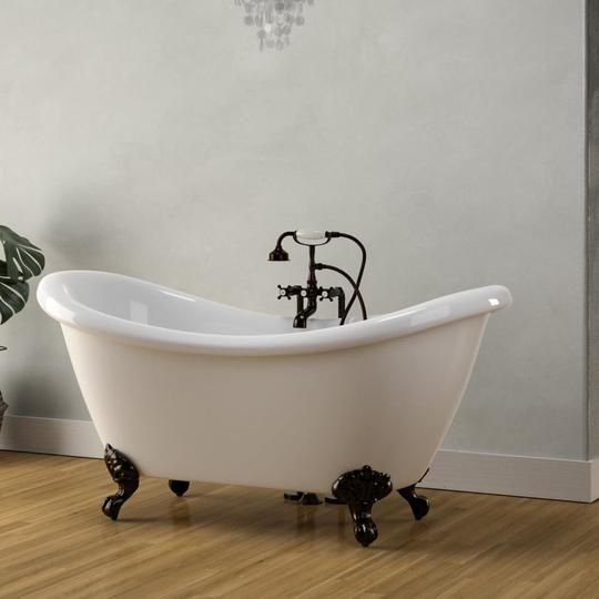 63 Etna Acrylic Double Slipper Clawfoot Tub Imperial Feet Tub