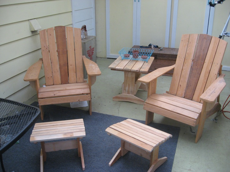 My grandpa's craft, not mine. Adirondack chairs, footstools, and side table all made from old pallet wood. The chairs are a few years old but he just finished the stools and table last month, at age 90. #pallet #adirondack #porch