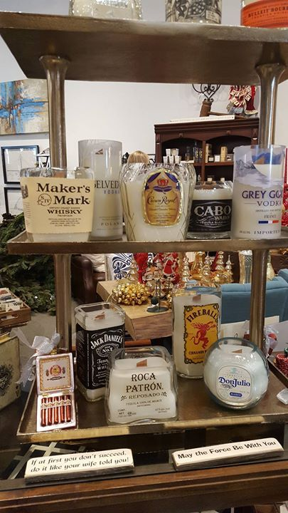 Look at these candles in old liquor bottles.  Great gift ideas!! #AbodeFineLiving #Scottsdale
