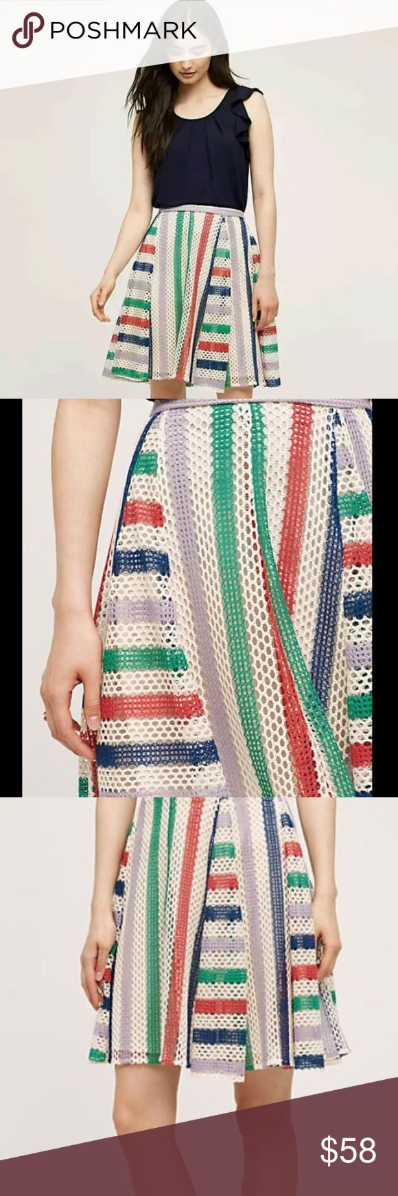 NWT Anthropologie Eva Franco Crochet French Skirt Anthropologie Eva Franco Crochet French Quarter Skirt --- Size 0 --- NWT --- cotton polyester blend --- lined in polyester --- full silhouette --- back zipper --- dry clean --- made in USA  Anthropologie Skirts