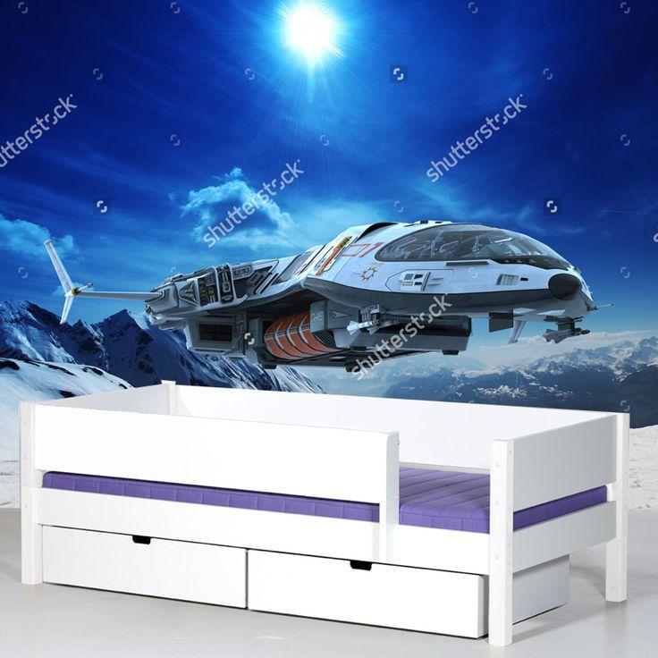 Fotobehang Prepare for landing | Maak het jezelf eenvoudig en bestel fotobehang voorzien van een lijmlaag bij YouPri om zo gemakkelijk jouw woonruimte een nieuwe stijl te geven. Voor het behangen heb je alleen water nodig!   #behang #fotobehang #print #opdruk #afbeelding #diy #behangen #science #fiction #sf #sciencefiction #scifi #ruimteschip #ruimte #buitenaards #blauw #sneeuw #planeet #jongenskamer