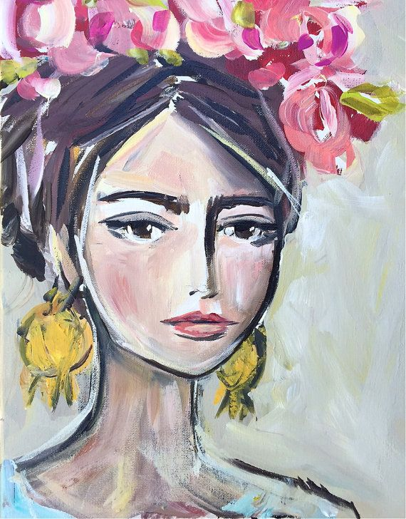 Abby / acrylic Portrait ORIGINAL painting on by DevinePaintings