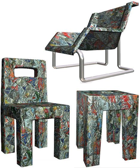 Not every piece of 'recycled furniture' has to be fancy. These crushed-can furniture pieces are extremely simple in theory but quite colorful in practice. They aren't suited for every interior design scheme but they are robust and would work great for outdoor furniture in a rugged environment. After all, would anyone really notice the rust on these?