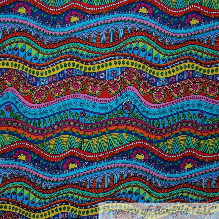 BonEful Fabric FQ Cotton Quilt Rainbow White Red Pink Blue Green Colorful Stripe