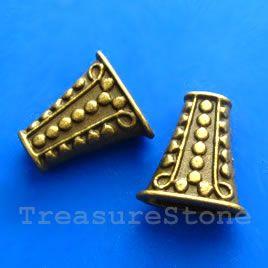 #Cone, antiqued brass finished, 17x9x18mm. #TreasureStone Beads Edmonton. www.TreasureStoneBeads.com