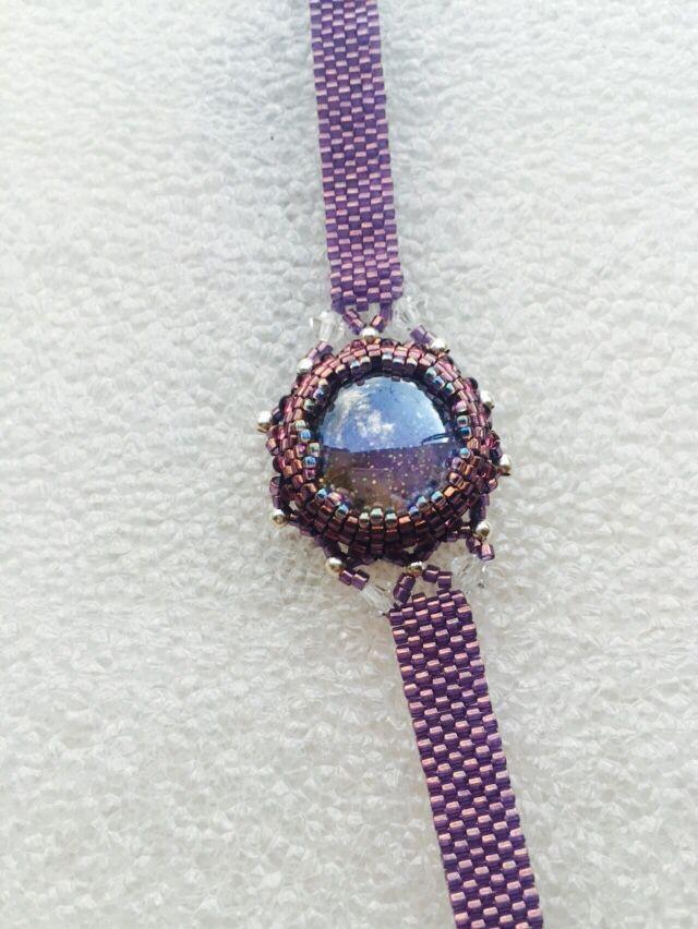 Bracelet Inspiration Mauve Cabochon en verre perles Miyuki et Swarowski
