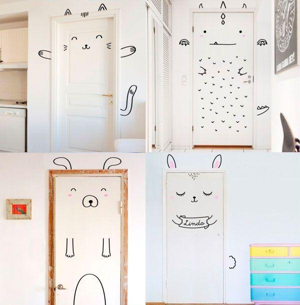 decorar las puertas infantiles con animales y monigotes