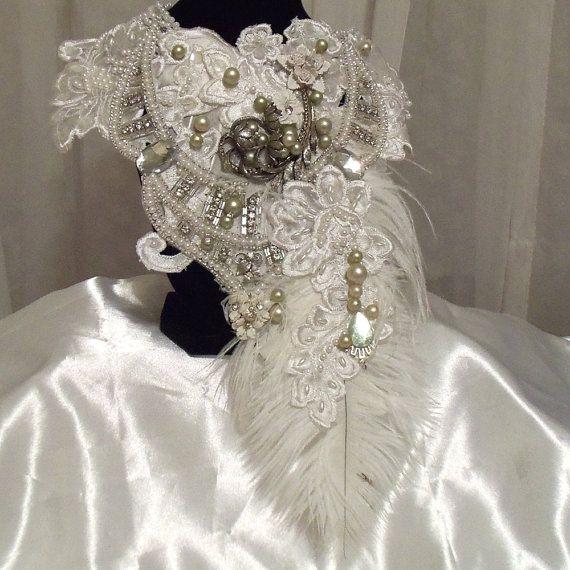 Avant Garde Collar Bib, La Plume White Necklace , Princess Beaded Statement NeckPiece, White Bridal Necklace, Collar Bib