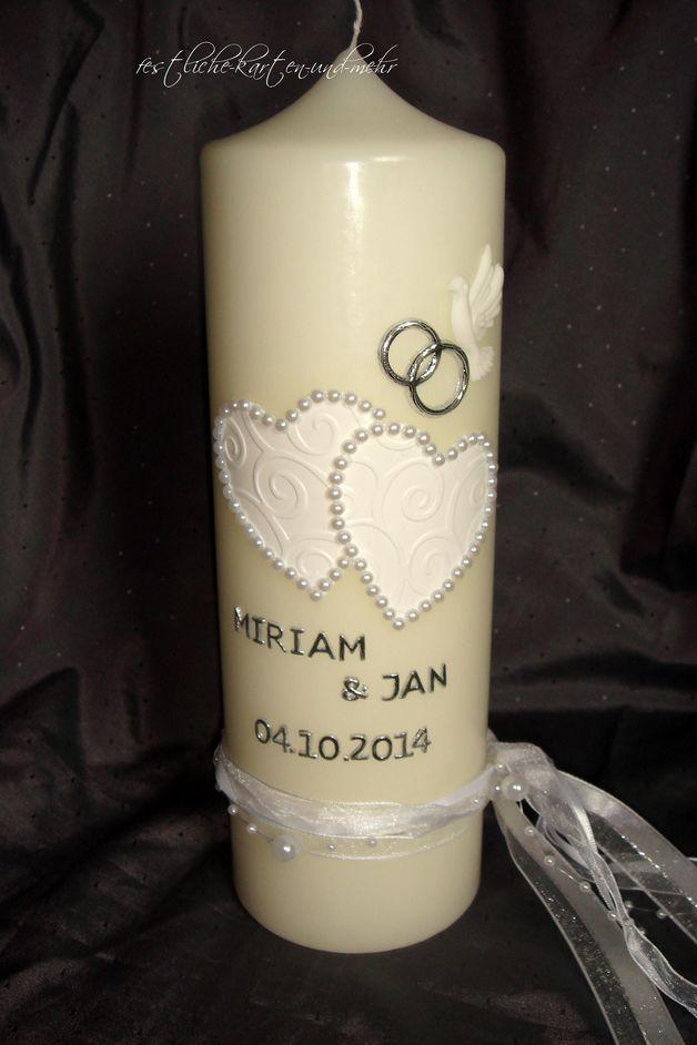 Hochzeitskerzen & Beleuchtung - SEHR EDLE HOCHZEITSKERZE KERZE HOCHZEIT CREME - ein Designerstück von valentinas-kreativecke bei DaWanda