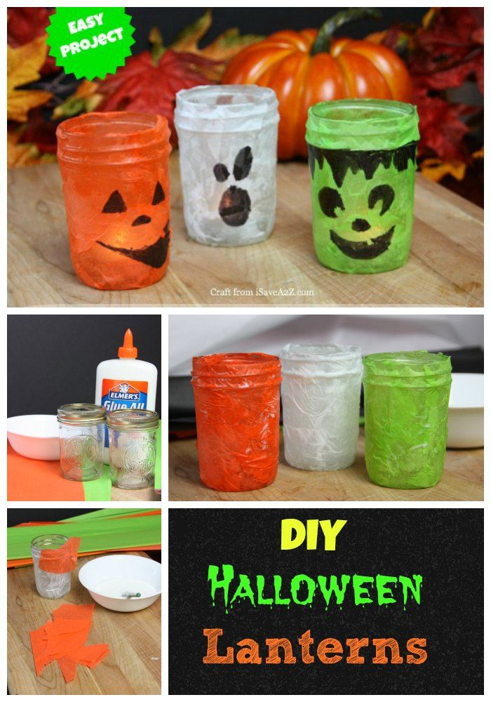 DIY Halloween Lanterns made from jelly jars and tissue paper! SO EASY the kids could make it themselves!