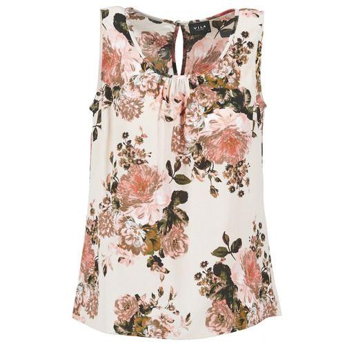 Vila VIFLOURISH TOP Blanc / Rose - Chaussure pas cher avec Shoes.fr ! - Vêtements Blouses Femme 24,50 €