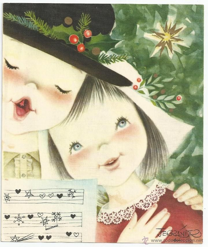 Felicitación de Navidad Ferrándiz - SUBI S-1542-3 - Díptica 15 x 13 cms. - Original 1962