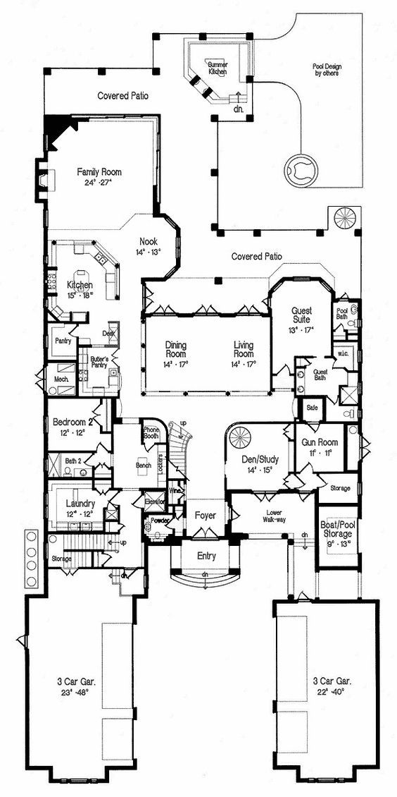 Plan 42004mj Grand Florida Mansion Florida Mansion House Plans Florida House Plans