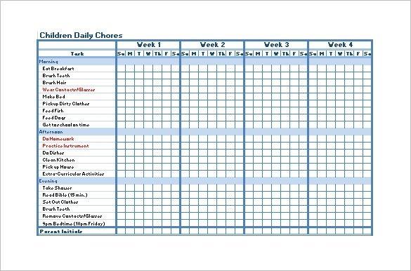 Blank Chore Chart Pdf Chore Chart Template Chore Chart Chore