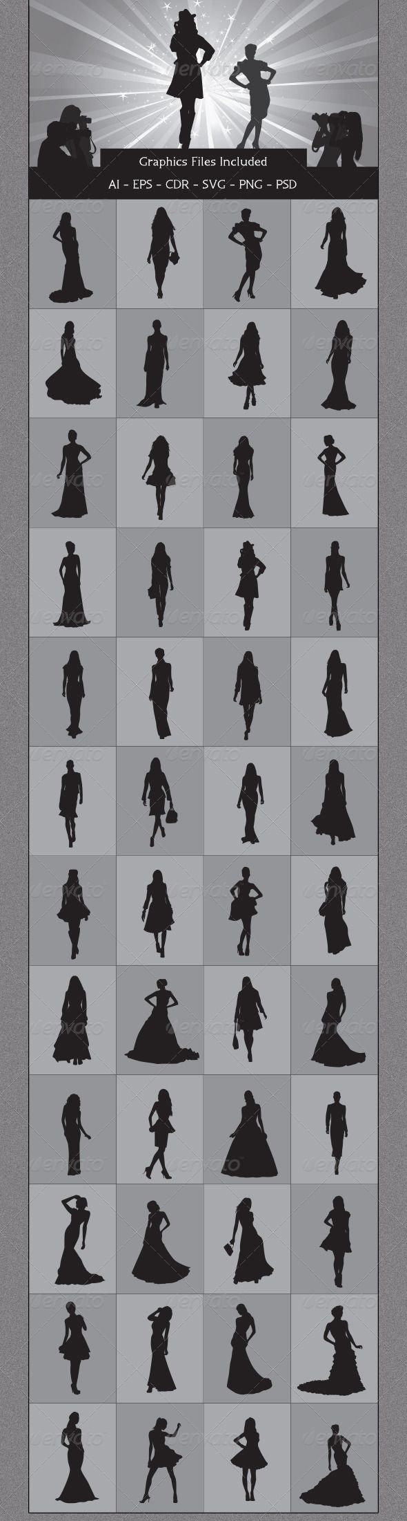 Fashion Model Silhouettes #GraphicRiver Nice Fashion Model Silhouettes vector design. In this files include AI and EPS versions.