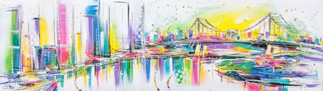 """Starr - Red Hill Art Gallery, Brisbane. Painting """"Story Bridge With Neon Pop"""" 150x40cm"""