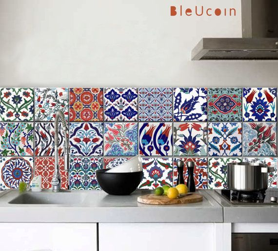Küche / Bad türkischen Fliesen / Wand-Abziehbilder 22 Designs X 2 = 44 Stück