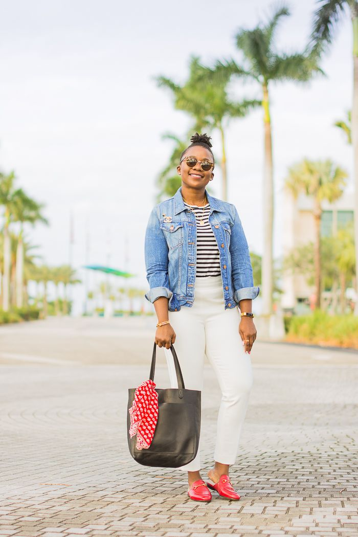 3af4b8e9200 denim jacket white pants outfit. How to wear gucci red loafer mules   springoutfit  denimjacket  whitepants  workoutfit