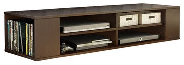 South Shore City Life Wall Mounted Media Console in Chocolate - transitional - Media Storage - Cymax
