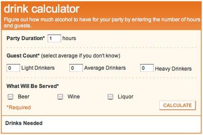 a wedding drink calculator so you never run out of the liquid fun.