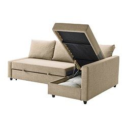 IKEA - FRIHETEN, Sofa bed with chaise, Skiftebo beige,  , , You can place the chaise lounge section to the left or right of the sofa, and switch whenever you like.Storage space under the chaise. The lid stays open so you can safely and easily take things in and out.Easily converts into a bed.Sofa, chaise and double bed in one.