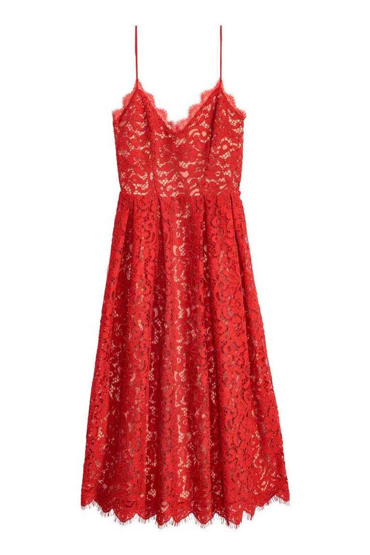 Krajkové šaty - Červená - ŽENY | H&M CZ