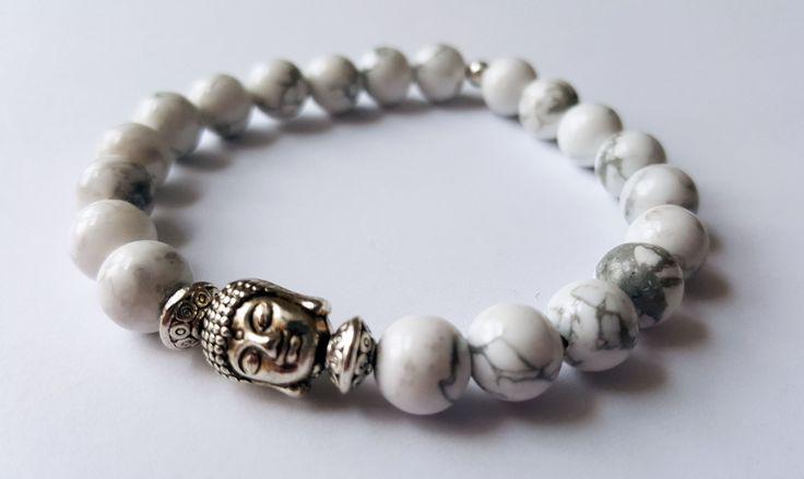 Unisex Genuine Howlite Buddha Bracelet by Wild Lotus Jewellery
