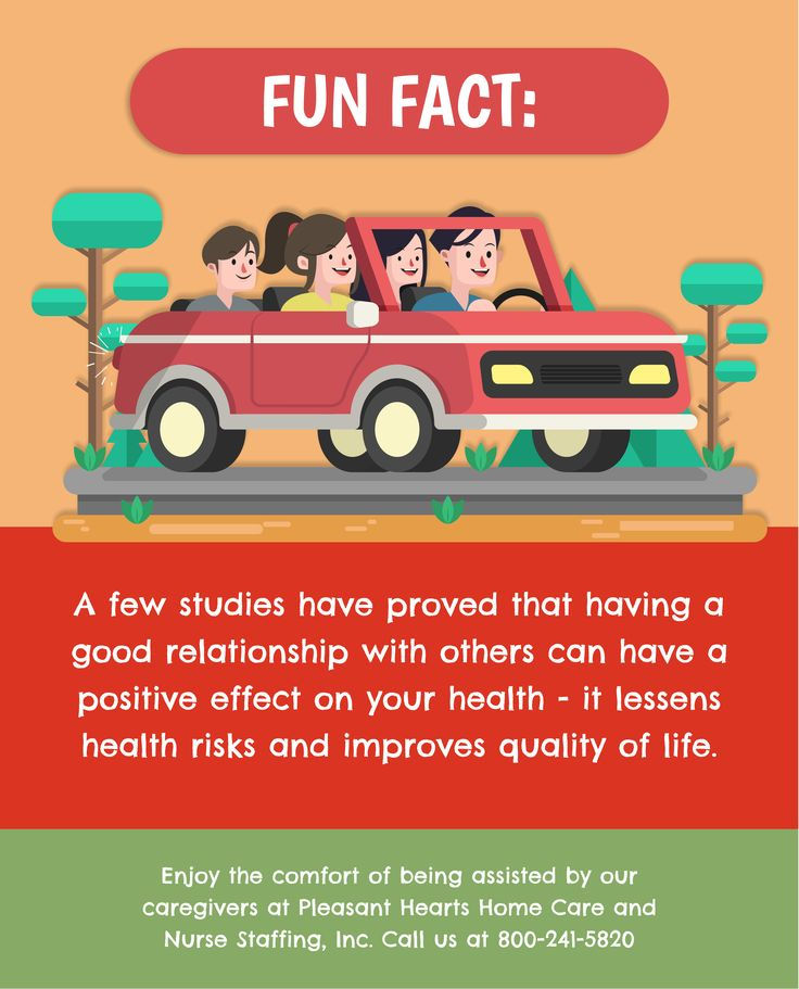 Fun Fact:  A few studies have proved that having a good relationship with others can have a positive effect on your health - it lessens health risks and improves quality of life.   Enjoy the comfort of being assisted by our caregivers at Pleasant Hearts Home Care and Nurse Staffing, Inc. Call us at 800-241-5820.  #FunFact