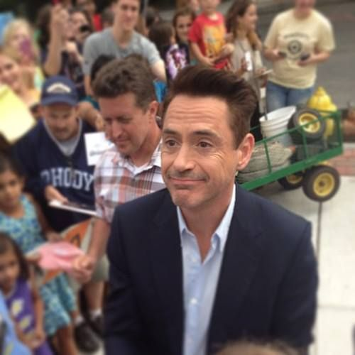 "Robert Downey Jr. surrounded by fans while filming his new movie, ""The Judge"""