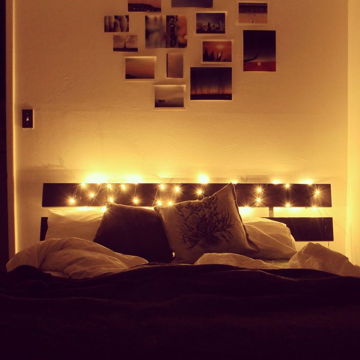 Ikea Fairy Lights Feature Photo Wall Brown White Bedroom