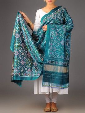 Green Zari Single Ikat Patan Patola Silk Dupatta