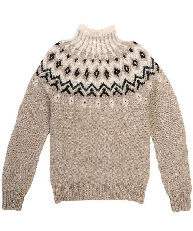Grace Baby Alpaca Fair Isle Turtleneck Sweater | 100% Pure Baby Alpaca | Taupe, Black and Ivory Fair Isle Sweater | Icelandic Style Sweater | Sustainable Luxury Fashion