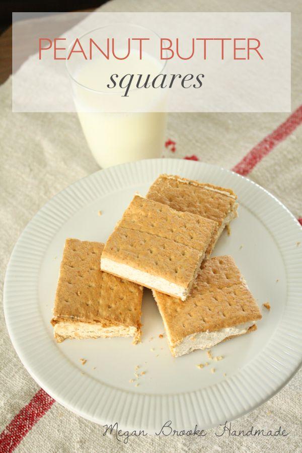 Yummy recipe for peanut butter squares, an ice cream like treat. #recipe #peanutbutter #dessert