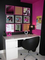 Pink and Black Teen Bedroom Ideas with Rock Style | Fun Interior Decor...good for girls.#Maybee#AndOfCroseDifferentWallColor!...